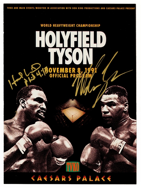 Mike Tyson and Evander Holyfield Signed Official 1991 Fight Program JSA Authentication