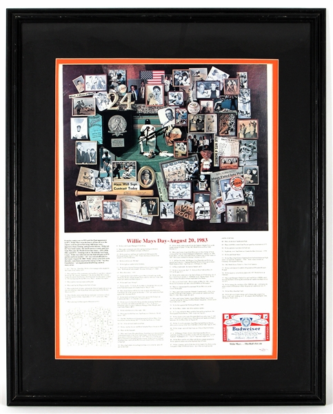 "Willie Mays Signed ""Willie Mays Day-August 20, 1983"" Display JSA Authentication"