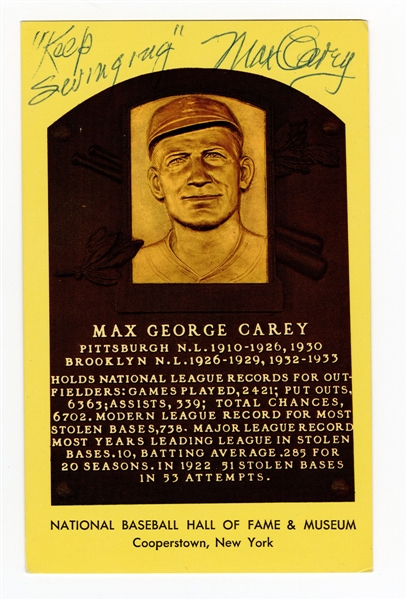 Max Carey Signed Hall of Fame Plaque Postcard