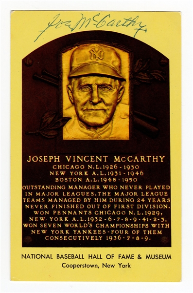 Joseph McCarthy Signed Hall of Fame Plaque Postcard