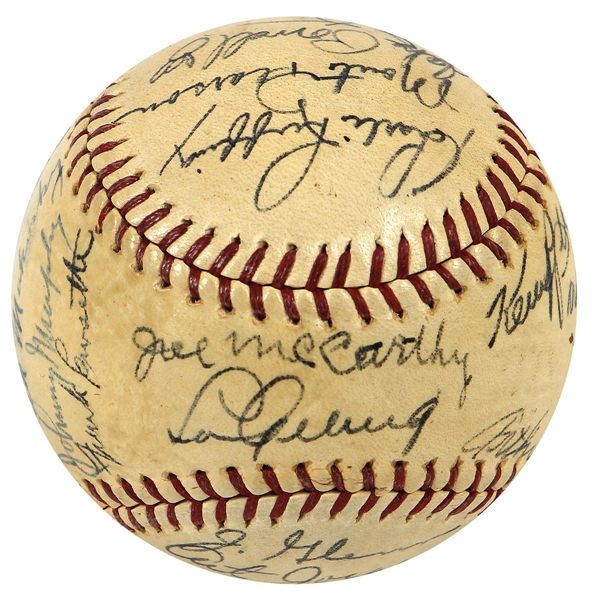 1937 New York Yankees Team Signed OAL Baseball with Lou Gehrig JSA LOA