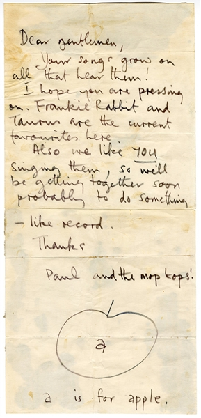 "Beatles Paul McCartney 1968 Handwritten & Signed  ""A is For Apple"" Letter Caiazzo Authenticated"