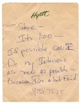 Eddie Van Halen Handwritten Tour Note REAL COA