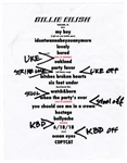 Billie Eilish Hand-Annotated Set List