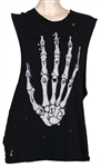Kesha Owned and Worn Black Tank Top with Skeletal Hand
