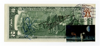 Neil Armstrong and Buzz Aldrin Signed Mint $2 Dollar Bill JSA