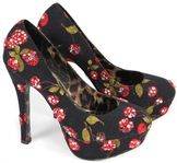 Nicki Minaj Owned and Worn Betsey Johnson Black and Red Floral Rhinestone Platform  Shoes