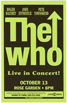 The Who Original Bill Graham Rose Garden Concert Poster