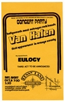 Van Halen Early Original 1977 Eulogy Orange County Concert Flyer