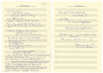 "Rickie Lee Jones Handwritten and Signed ""Pirates"" Lyrics"