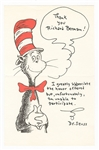 Dr. Seuss Signed Cat in the Hat Note Page JSA