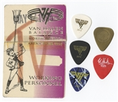 Eddie Van Halen Stage Used Guitar Picks and Backstage Pass