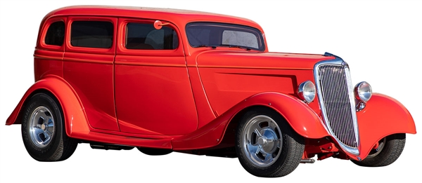 Eddie Van Halen Owned & Driven Custom 1934 Ford Sedan Red Hot Rod Car with Fully Signed Guitar, File Copy of Title and Autographs