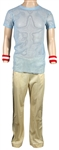 Queen Freddie Mercury Stage Worn Blue Mesh Shirt, Adidas Pants and Wrist Sweatbands
