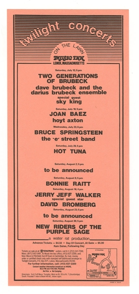 Bruce Springsteen and The E Street Band Original 1975 Twilight Series Music Inn Concert Flyer Handbill