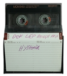 "Def Leppard Rick Allen Owned Unreleased ""Hysteria"" Rough Mix Cassette Tape with Handwritten Label"