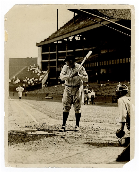 Babe Ruth New York Yankees Original Wire Stamped Photograph
