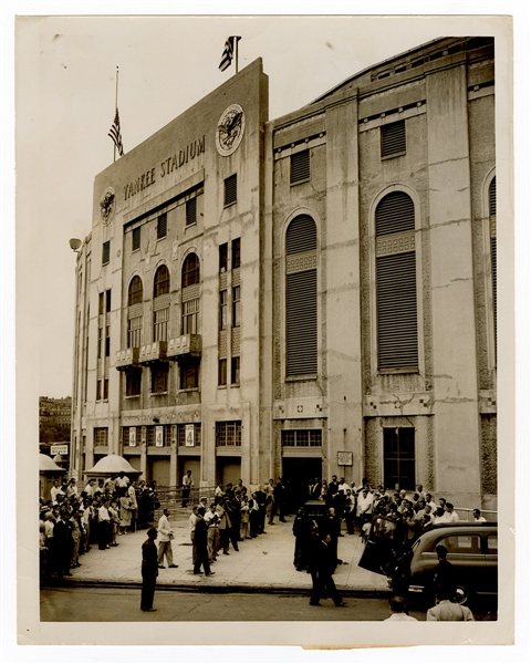Babe Ruth Yankee Stadium Funeral Original Wire Stamped Photograph