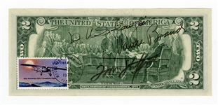 Apollo-Soyuz Test Project Astronauts Signed $2 Dollar Bill JSA