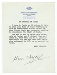 Marc Chagall Signed Typed Poem JSA