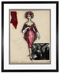 "Elizabeth Taylor Signed Robert DeMora Costume Sketch ""Winter Kills"" Display with Costume Artifact JSA"