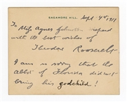 Theodore Roosevelt Handwritten Signed Note Card JSA